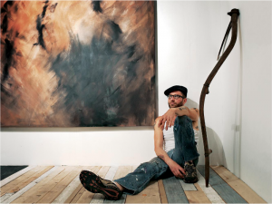 The artist Brian Reaume in his studio